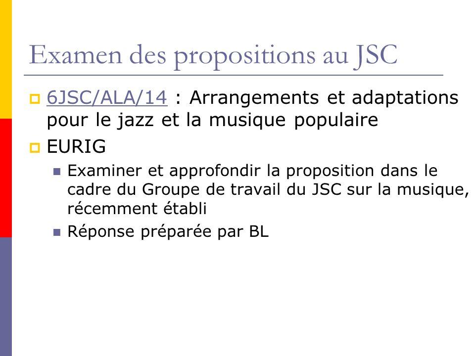 Examen des propositions au JSC 6JSC/ALA/14 : Arrangements et adaptations pour le jazz et la musique populaire 6JSC/ALA/14 EURIG Examiner et approfondir la proposition dans le cadre du Groupe de travail du JSC sur la musique, récemment établi Réponse préparée par BL