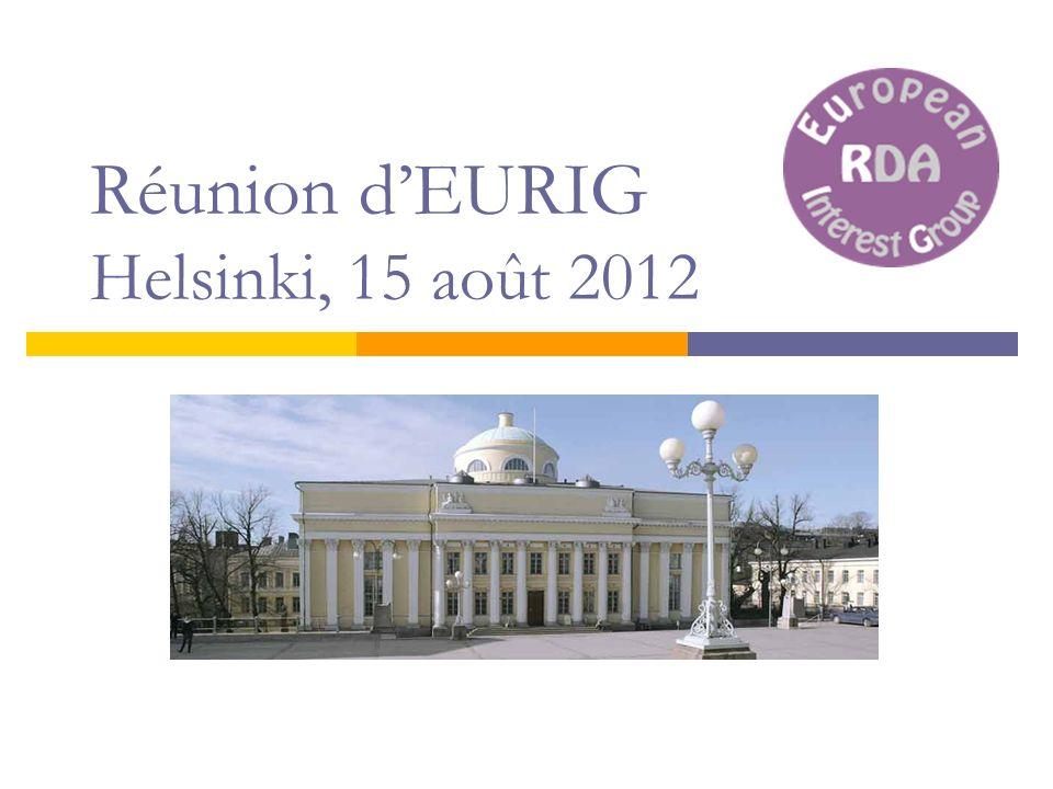 Réunion dEURIG Helsinki, 15 août 2012