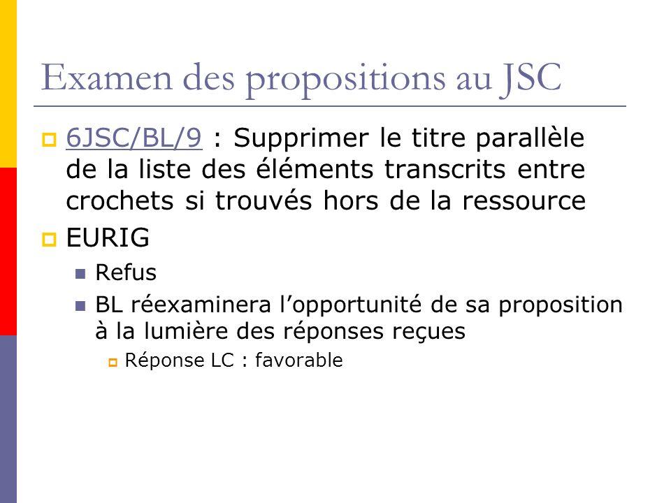 Examen des propositions au JSC 6JSC/BL/9 : Supprimer le titre parallèle de la liste des éléments transcrits entre crochets si trouvés hors de la ressource 6JSC/BL/9 EURIG Refus BL réexaminera lopportunité de sa proposition à la lumière des réponses reçues Réponse LC : favorable