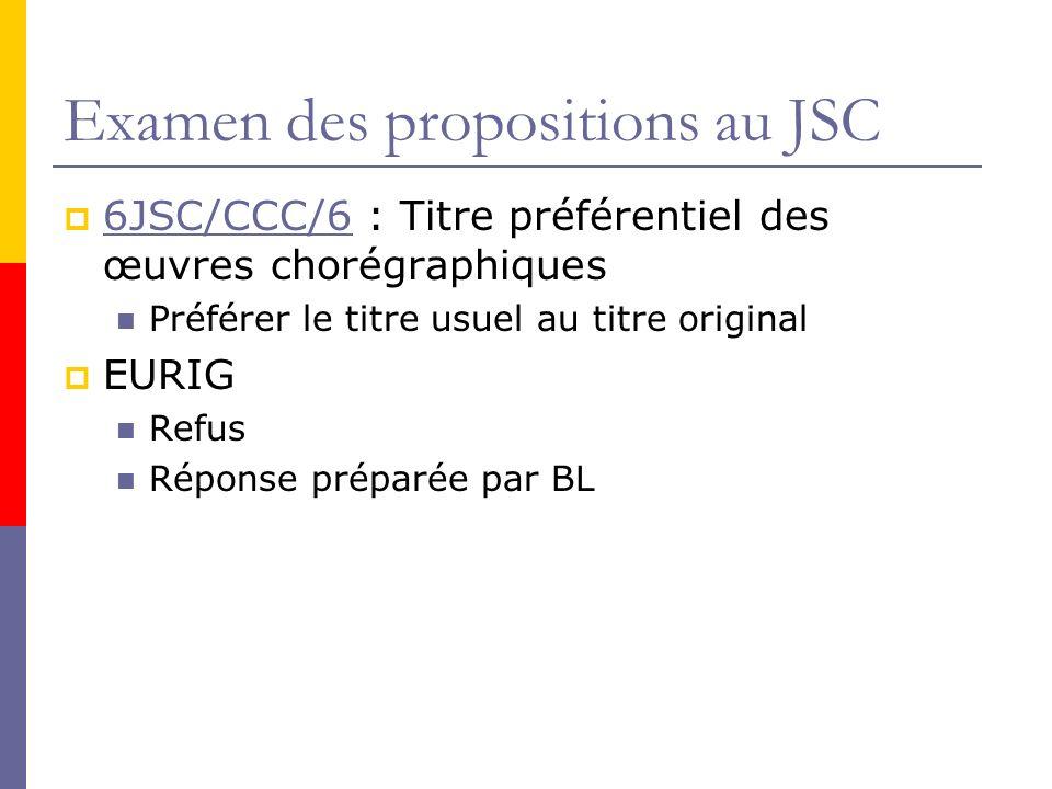 Examen des propositions au JSC 6JSC/CCC/6 : Titre préférentiel des œuvres chorégraphiques 6JSC/CCC/6 Préférer le titre usuel au titre original EURIG Refus Réponse préparée par BL