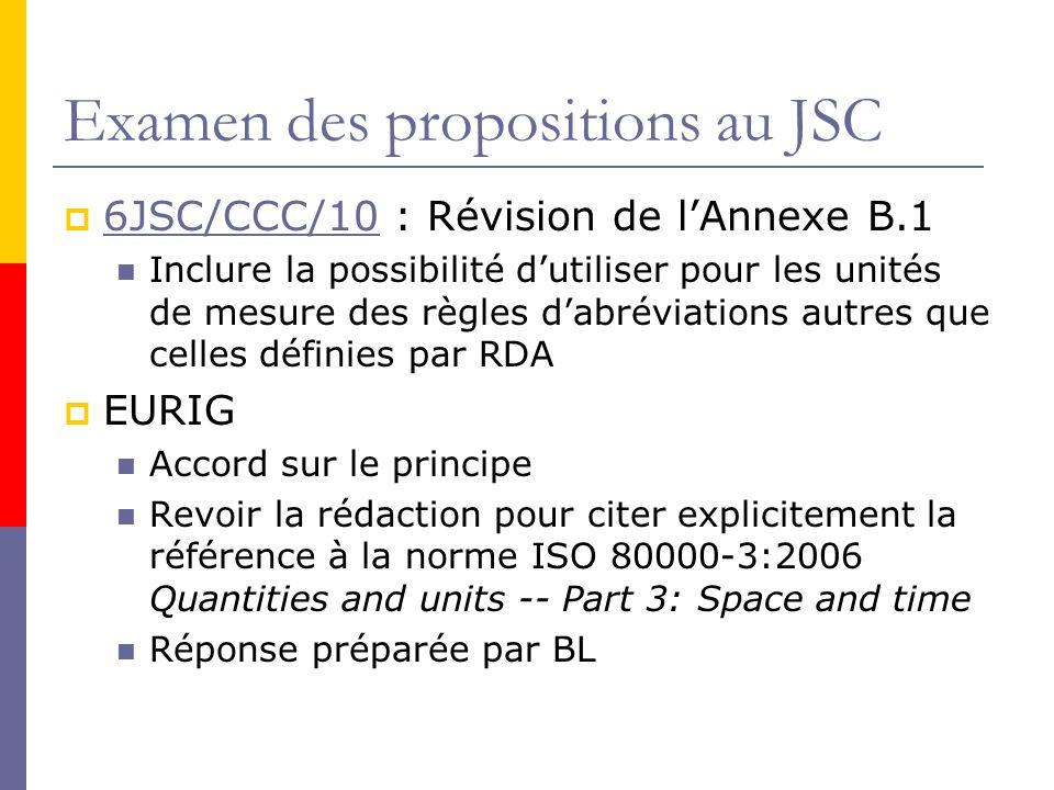 Examen des propositions au JSC 6JSC/CCC/10 : Révision de lAnnexe B.1 6JSC/CCC/10 Inclure la possibilité dutiliser pour les unités de mesure des règles dabréviations autres que celles définies par RDA EURIG Accord sur le principe Revoir la rédaction pour citer explicitement la référence à la norme ISO 80000-3:2006 Quantities and units -- Part 3: Space and time Réponse préparée par BL