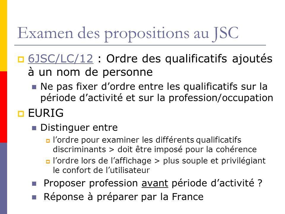 Examen des propositions au JSC 6JSC/LC/12 : Ordre des qualificatifs ajoutés à un nom de personne 6JSC/LC/12 Ne pas fixer dordre entre les qualificatifs sur la période dactivité et sur la profession/occupation EURIG Distinguer entre lordre pour examiner les différents qualificatifs discriminants > doit être imposé pour la cohérence lordre lors de laffichage > plus souple et privilégiant le confort de lutilisateur Proposer profession avant période dactivité .
