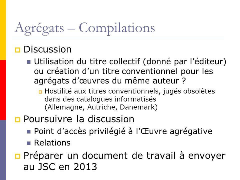 Agrégats – Compilations Discussion Utilisation du titre collectif (donné par léditeur) ou création dun titre conventionnel pour les agrégats dœuvres du même auteur .