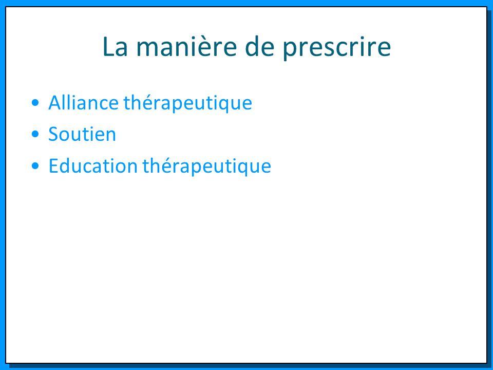 La manière de prescrire Alliance thérapeutique Soutien Education thérapeutique