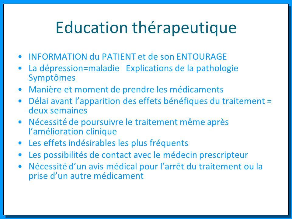 Education thérapeutique INFORMATION du PATIENT et de son ENTOURAGE La dépression=maladie Explications de la pathologie Symptômes Manière et moment de