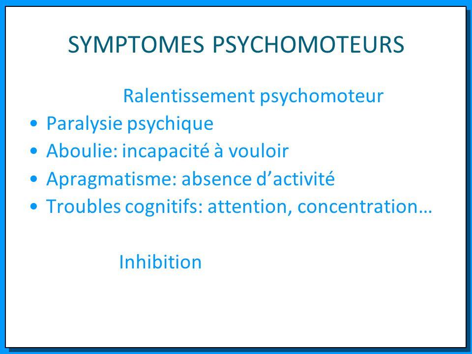 SYMPTOMES PSYCHOMOTEURS Ralentissement psychomoteur Paralysie psychique Aboulie: incapacité à vouloir Apragmatisme: absence dactivité Troubles cogniti