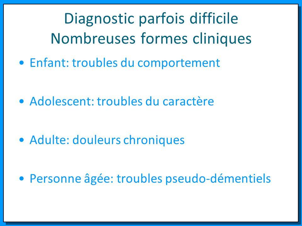 Diagnostic parfois difficile Nombreuses formes cliniques Enfant: troubles du comportement Adolescent: troubles du caractère Adulte: douleurs chronique