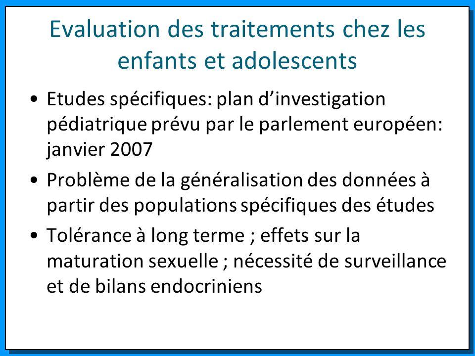 Evaluation des traitements chez les enfants et adolescents Etudes spécifiques: plan dinvestigation pédiatrique prévu par le parlement européen: janvie