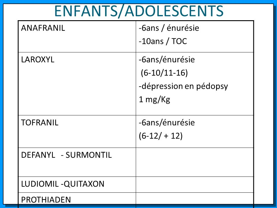ENFANTS/ADOLESCENTS ANAFRANIL-6ans / énurésie -10ans / TOC LAROXYL-6ans/énurésie (6-10/11-16) -dépression en pédopsy 1 mg/Kg TOFRANIL-6ans/énurésie (6
