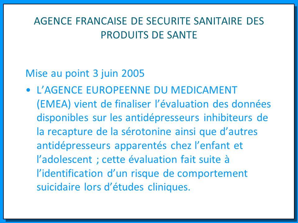 AGENCE FRANCAISE DE SECURITE SANITAIRE DES PRODUITS DE SANTE Mise au point 3 juin 2005 LAGENCE EUROPEENNE DU MEDICAMENT (EMEA) vient de finaliser léva