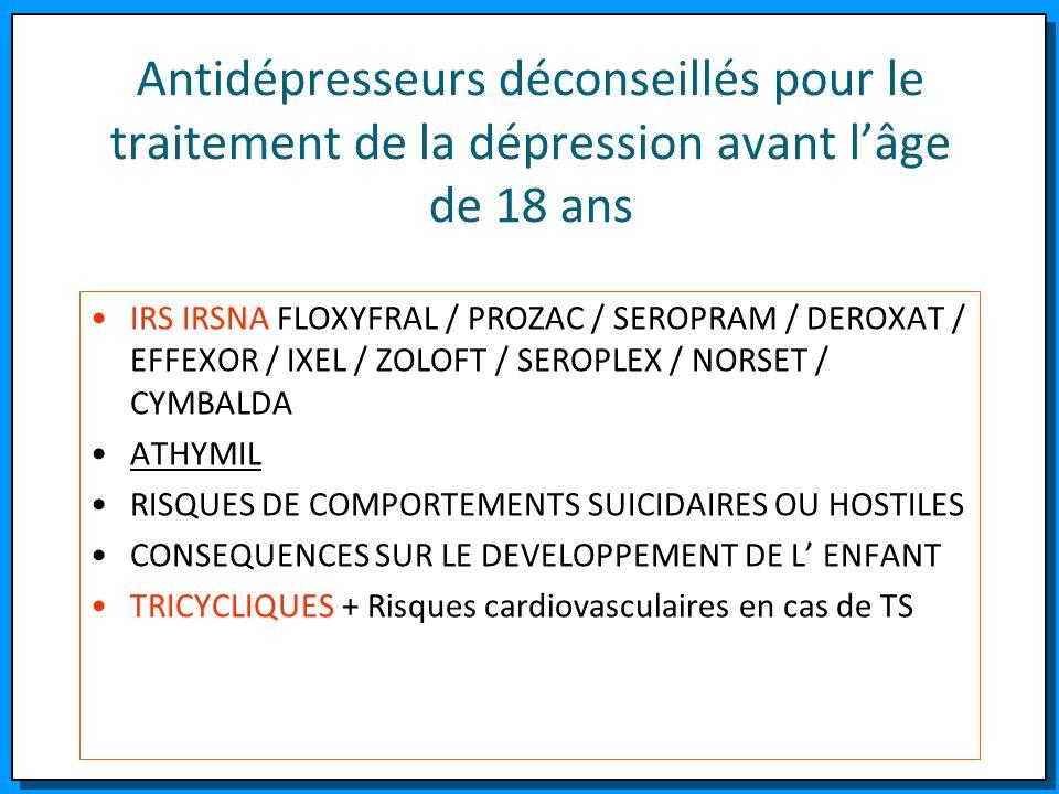 Antidépresseurs déconseillés pour le traitement de la dépression avant lâge de 18 ans IRS IRSNA FLOXYFRAL / PROZAC / SEROPRAM / DEROXAT / EFFEXOR / IX
