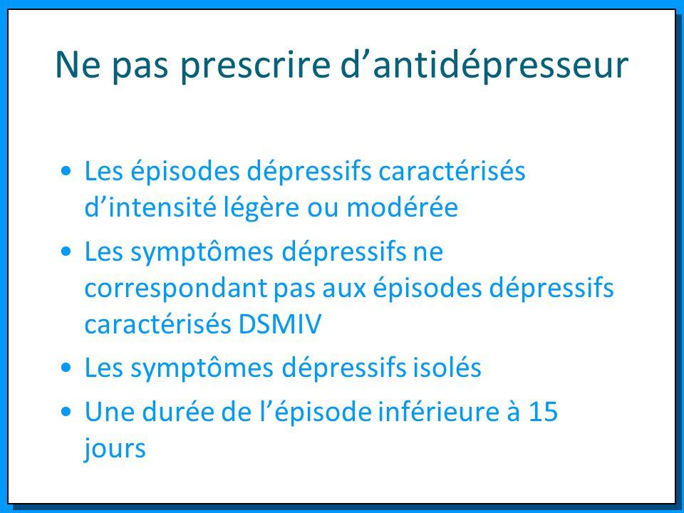 Ne pas prescrire dantidépresseur Les épisodes dépressifs caractérisés dintensité légère ou modérée Les symptômes dépressifs ne correspondant pas aux é