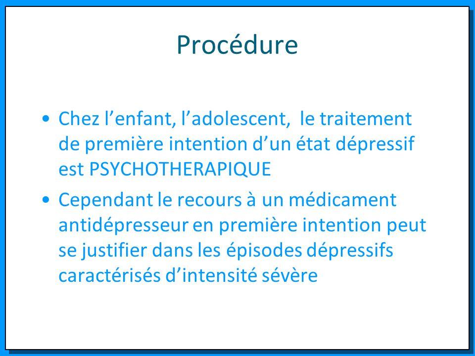Procédure Chez lenfant, ladolescent, le traitement de première intention dun état dépressif est PSYCHOTHERAPIQUE Cependant le recours à un médicament