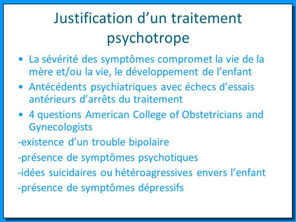Justification dun traitement psychotrope La sévérité des symptômes compromet la vie de la mère et/ou la vie, le développement de lenfant Antécédents p