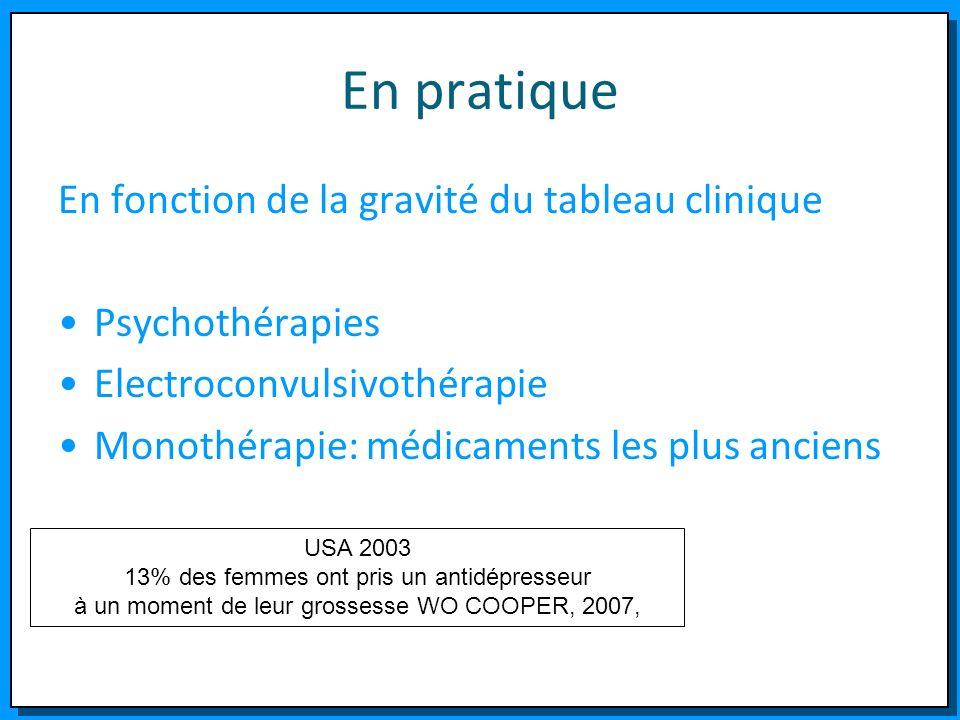 En pratique En fonction de la gravité du tableau clinique Psychothérapies Electroconvulsivothérapie Monothérapie: médicaments les plus anciens USA 200