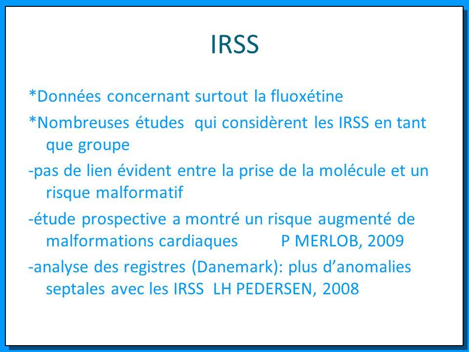 IRSS *Données concernant surtout la fluoxétine *Nombreuses études qui considèrent les IRSS en tant que groupe -pas de lien évident entre la prise de l