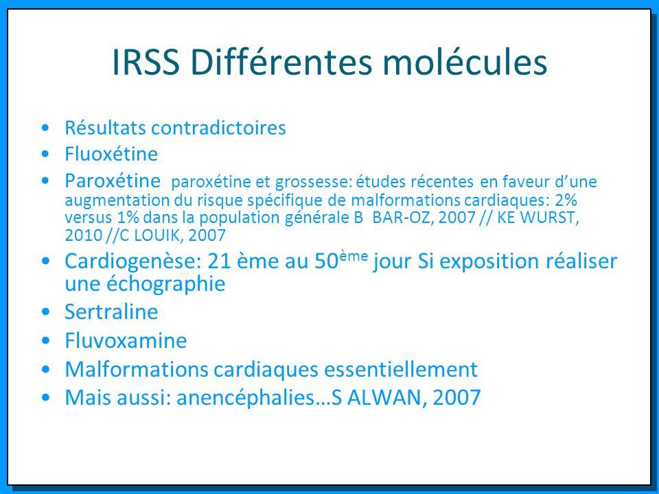 IRSS Différentes molécules Résultats contradictoires Fluoxétine Paroxétine paroxétine et grossesse: études récentes en faveur dune augmentation du ris