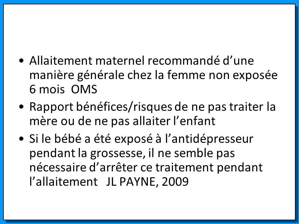 Allaitement maternel recommandé dune manière générale chez la femme non exposée 6 mois OMS Rapport bénéfices/risques de ne pas traiter la mère ou de n