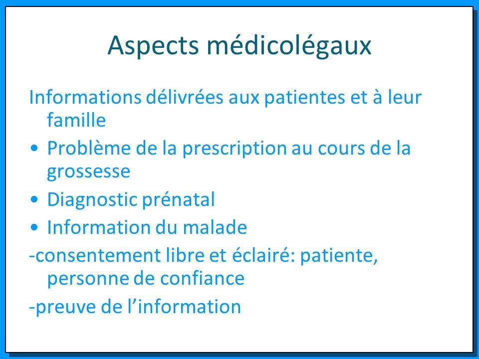 Aspects médicolégaux Informations délivrées aux patientes et à leur famille Problème de la prescription au cours de la grossesse Diagnostic prénatal I