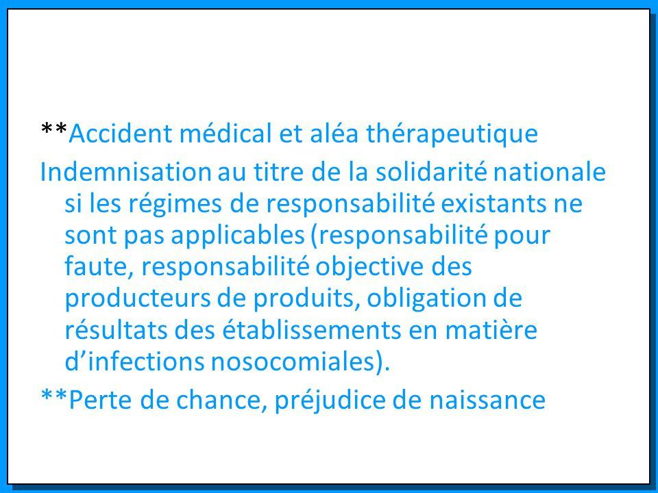 **Accident médical et aléa thérapeutique Indemnisation au titre de la solidarité nationale si les régimes de responsabilité existants ne sont pas appl