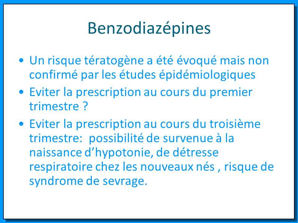 Benzodiazépines Un risque tératogène a été évoqué mais non confirmé par les études épidémiologiques Eviter la prescription au cours du premier trimest