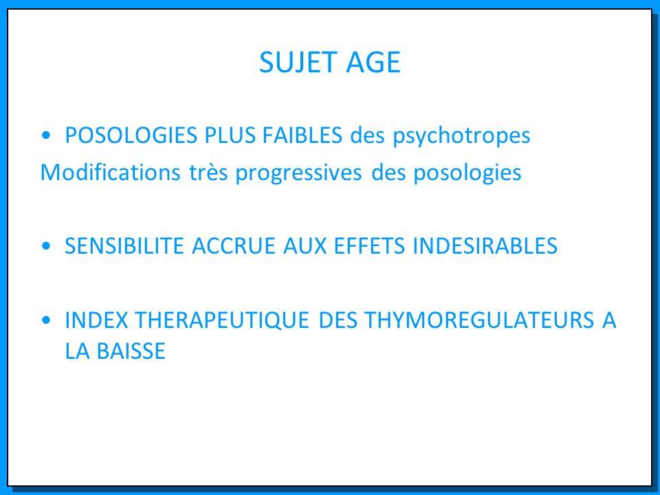 SUJET AGE POSOLOGIES PLUS FAIBLES des psychotropes Modifications très progressives des posologies SENSIBILITE ACCRUE AUX EFFETS INDESIRABLES INDEX THE