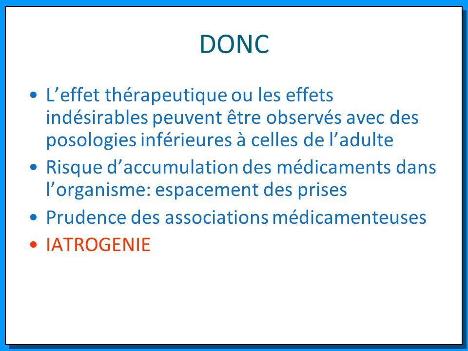 DONC Leffet thérapeutique ou les effets indésirables peuvent être observés avec des posologies inférieures à celles de ladulte Risque daccumulation de