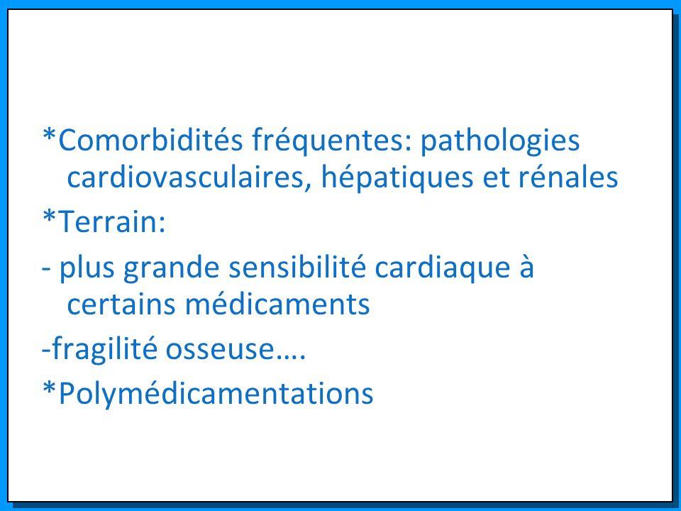 *Comorbidités fréquentes: pathologies cardiovasculaires, hépatiques et rénales *Terrain: - plus grande sensibilité cardiaque à certains médicaments -f