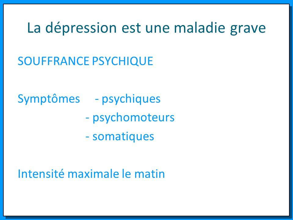 La dépression est une maladie grave SOUFFRANCE PSYCHIQUE Symptômes - psychiques - psychomoteurs - somatiques Intensité maximale le matin