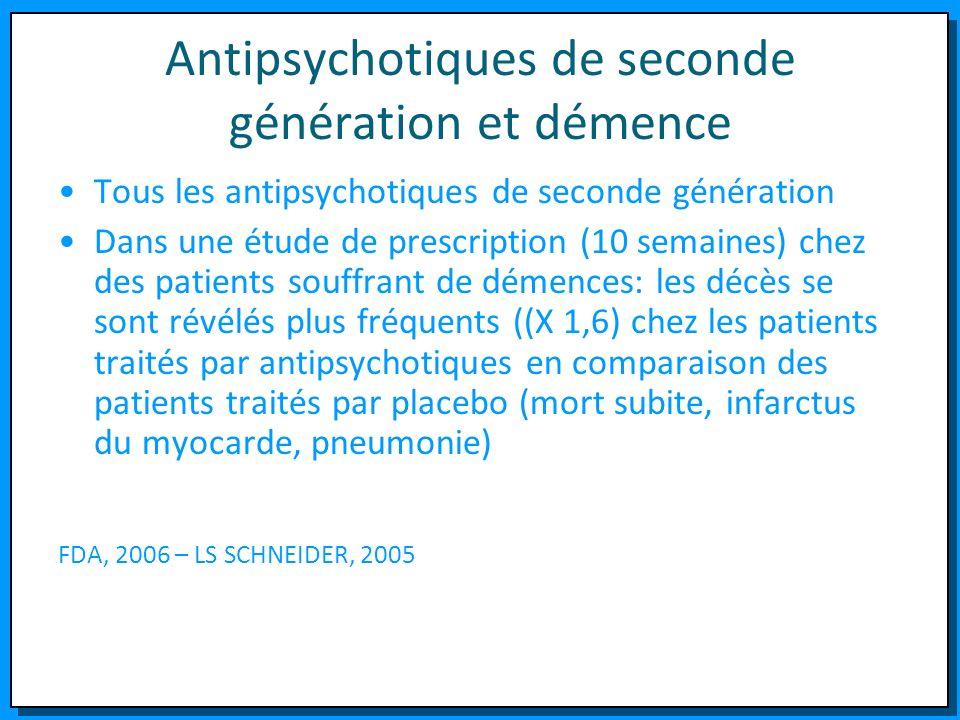 Antipsychotiques de seconde génération et démence Tous les antipsychotiques de seconde génération Dans une étude de prescription (10 semaines) chez de