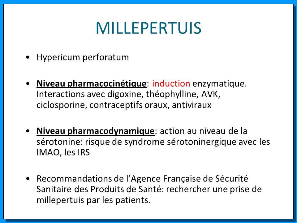 MILLEPERTUIS Hypericum perforatum Niveau pharmacocinétique: induction enzymatique. Interactions avec digoxine, théophylline, AVK, ciclosporine, contra