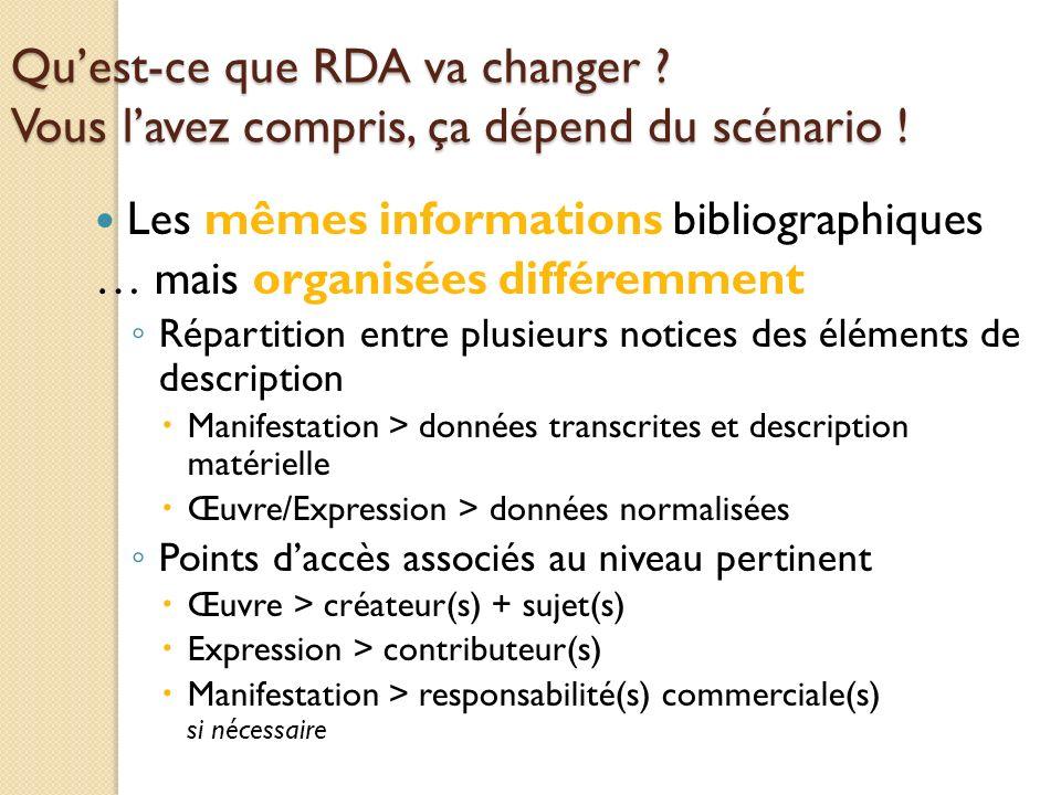 Quest-ce que RDA va changer . Vous lavez compris, ça dépend du scénario .