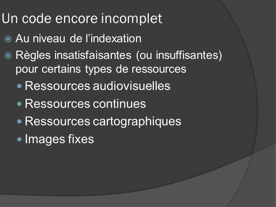 Un code encore incomplet Au niveau de lindexation Règles insatisfaisantes (ou insuffisantes) pour certains types de ressources Ressources audiovisuelles Ressources continues Ressources cartographiques Images fixes