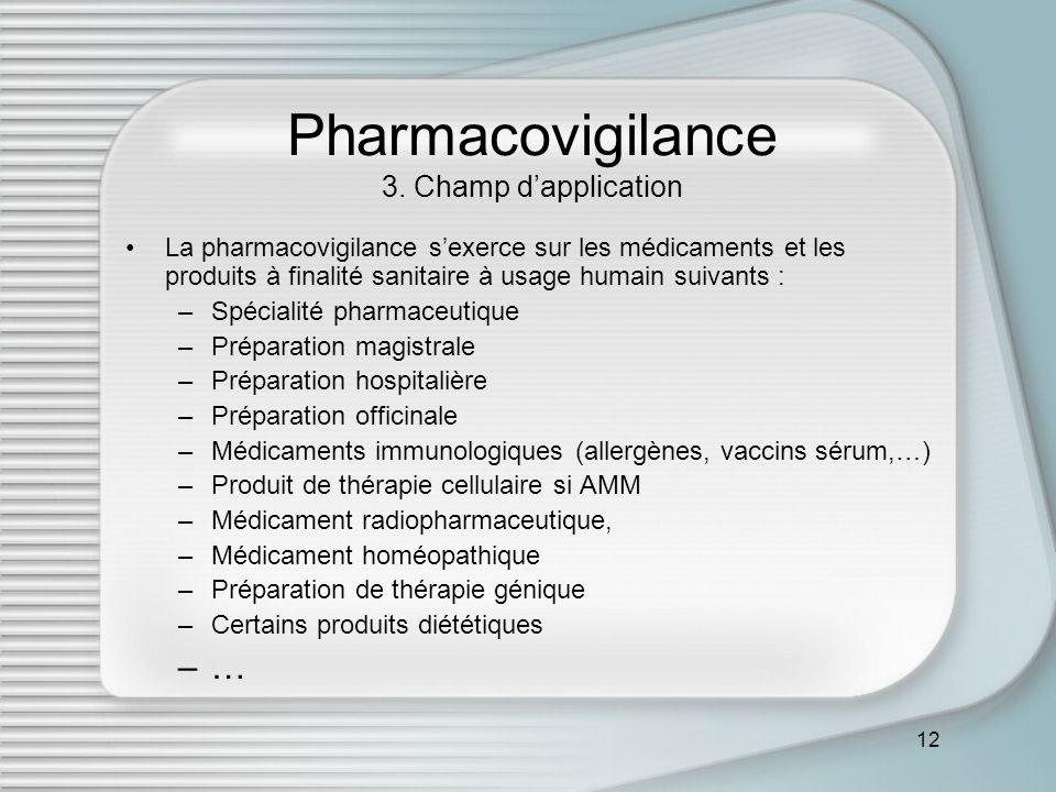 12 Pharmacovigilance 3. Champ dapplication La pharmacovigilance sexerce sur les médicaments et les produits à finalité sanitaire à usage humain suivan