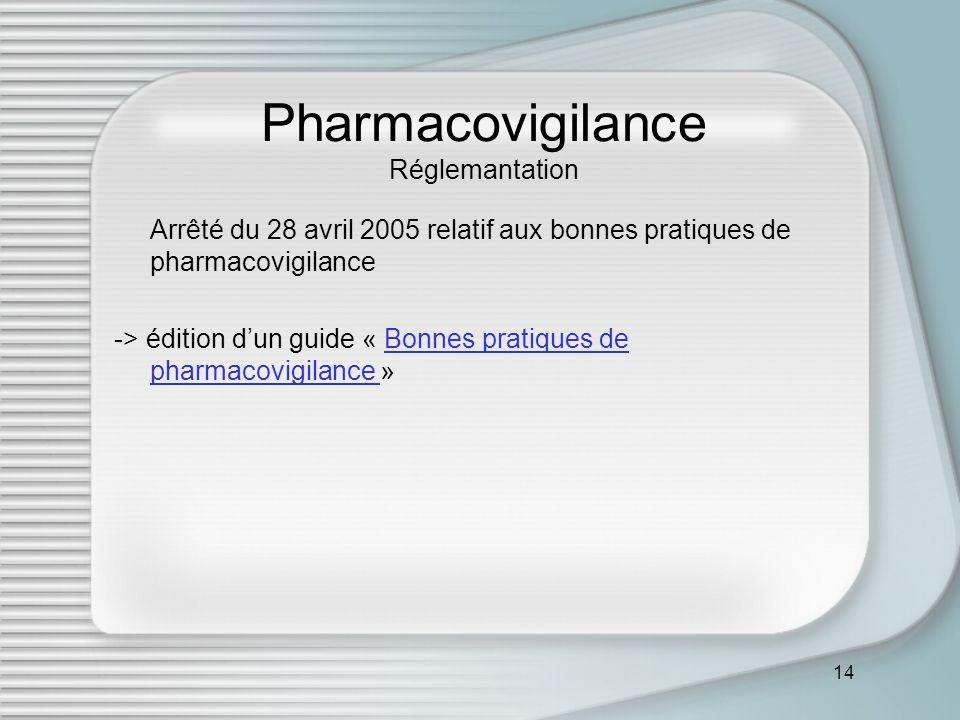 14 Pharmacovigilance Réglemantation Arrêté du 28 avril 2005 relatif aux bonnes pratiques de pharmacovigilance -> édition dun guide « Bonnes pratiques