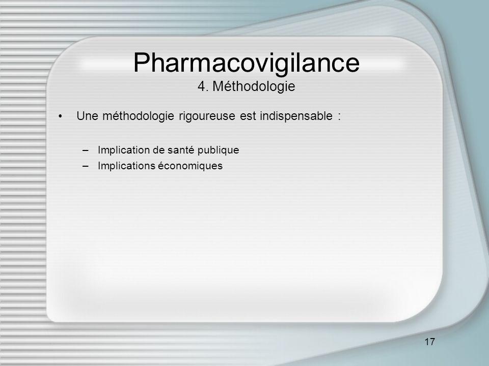 17 Pharmacovigilance 4. Méthodologie Une méthodologie rigoureuse est indispensable : –Implication de santé publique –Implications économiques