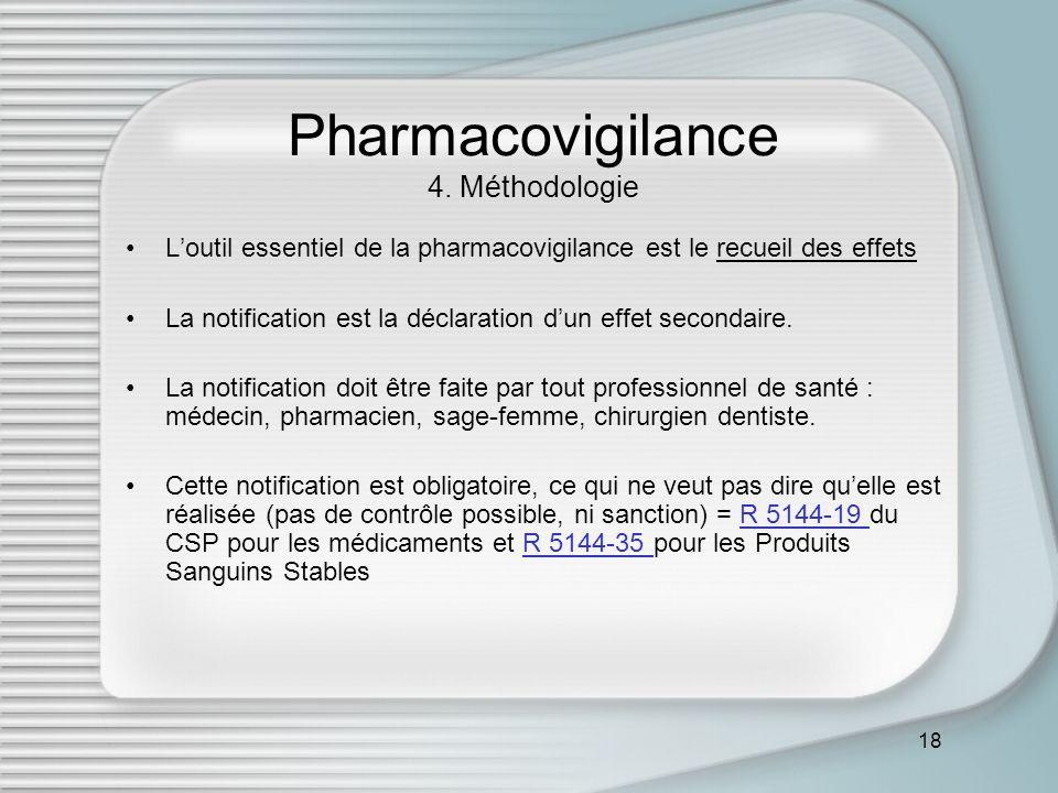 18 Pharmacovigilance 4. Méthodologie Loutil essentiel de la pharmacovigilance est le recueil des effets La notification est la déclaration dun effet s