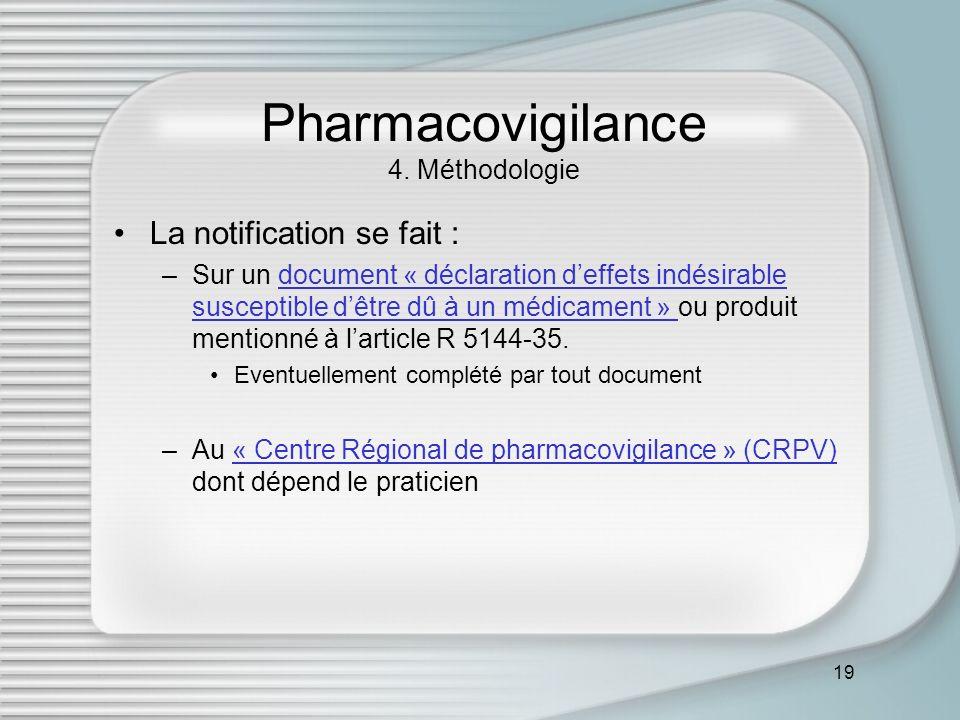19 Pharmacovigilance 4. Méthodologie La notification se fait : –Sur un document « déclaration deffets indésirable susceptible dêtre dû à un médicament