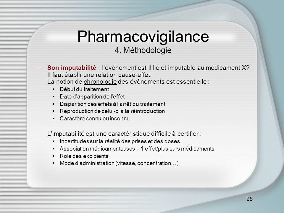 28 Pharmacovigilance 4. Méthodologie –Son imputabilité : lévénement est-il lié et imputable au médicament X? Il faut établir une relation cause-effet.