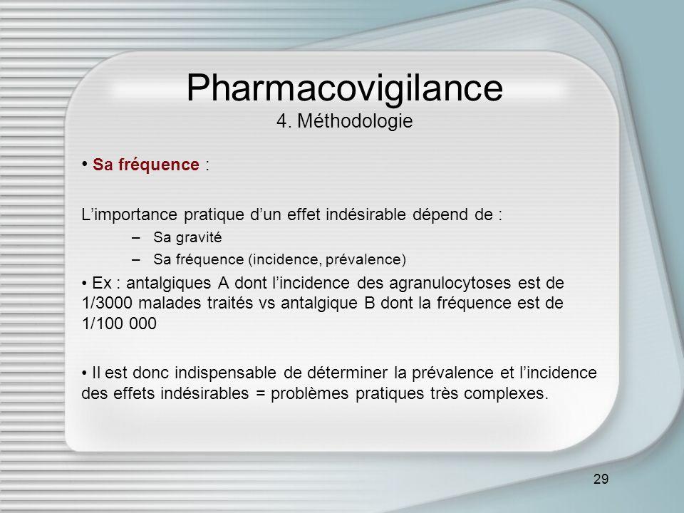 29 Pharmacovigilance 4. Méthodologie Sa fréquence : Limportance pratique dun effet indésirable dépend de : –Sa gravité –Sa fréquence (incidence, préva