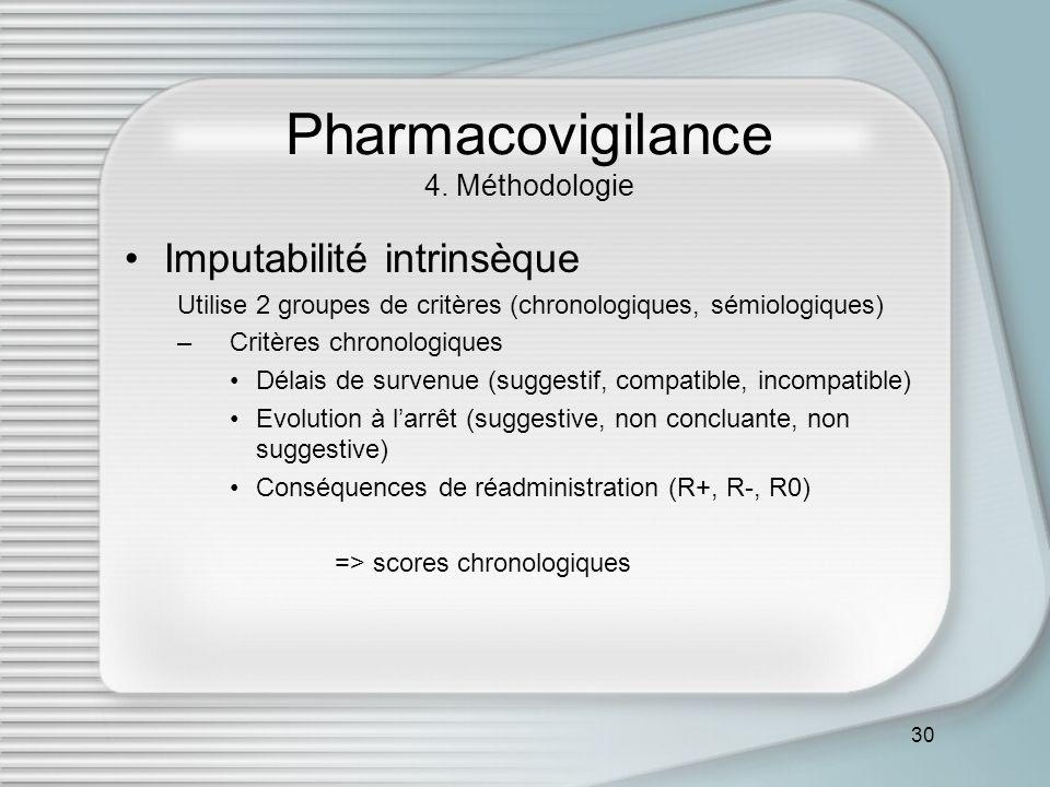 30 Pharmacovigilance 4. Méthodologie Imputabilité intrinsèque Utilise 2 groupes de critères (chronologiques, sémiologiques) –Critères chronologiques D