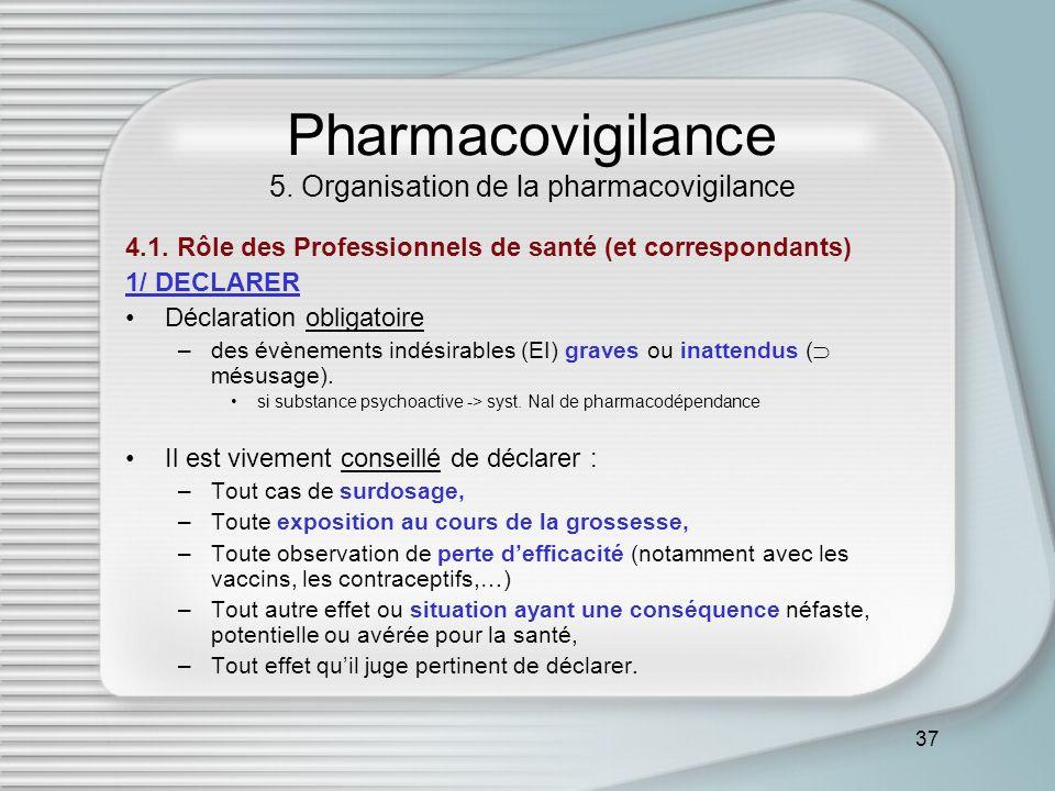 37 Pharmacovigilance 5. Organisation de la pharmacovigilance 4.1. Rôle des Professionnels de santé (et correspondants) 1/ DECLARER Déclaration obligat