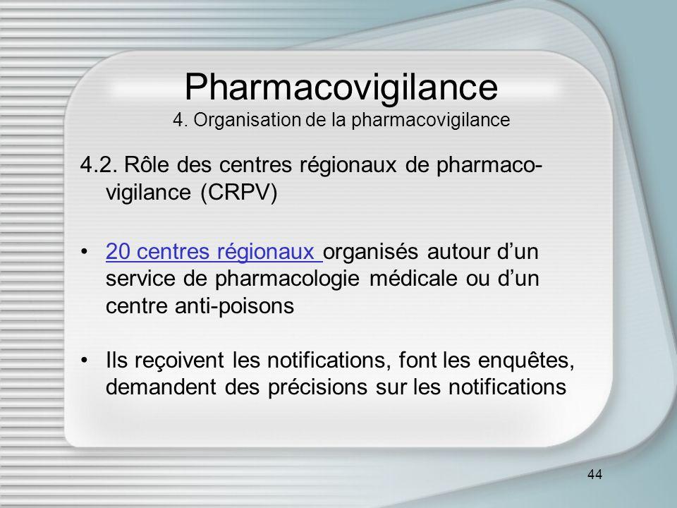44 Pharmacovigilance 4. Organisation de la pharmacovigilance 4.2. Rôle des centres régionaux de pharmaco- vigilance (CRPV) 20 centres régionaux organi