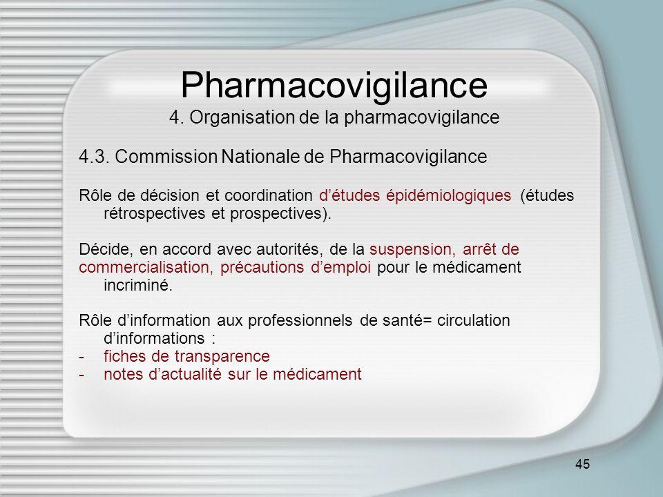 45 Pharmacovigilance 4. Organisation de la pharmacovigilance 4.3. Commission Nationale de Pharmacovigilance Rôle de décision et coordination détudes é