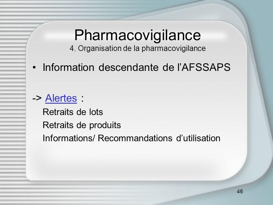 46 Pharmacovigilance 4. Organisation de la pharmacovigilance Information descendante de lAFSSAPS -> Alertes :Alertes Retraits de lots Retraits de prod
