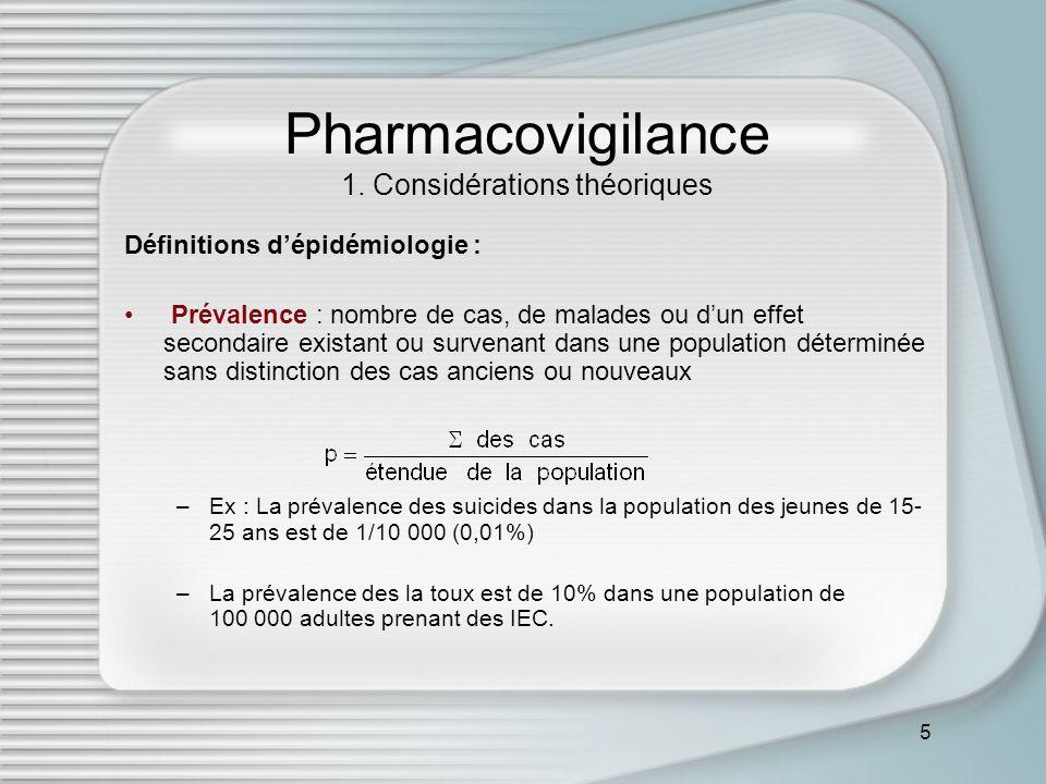5 Pharmacovigilance 1. Considérations théoriques Définitions dépidémiologie : Prévalence : nombre de cas, de malades ou dun effet secondaire existant