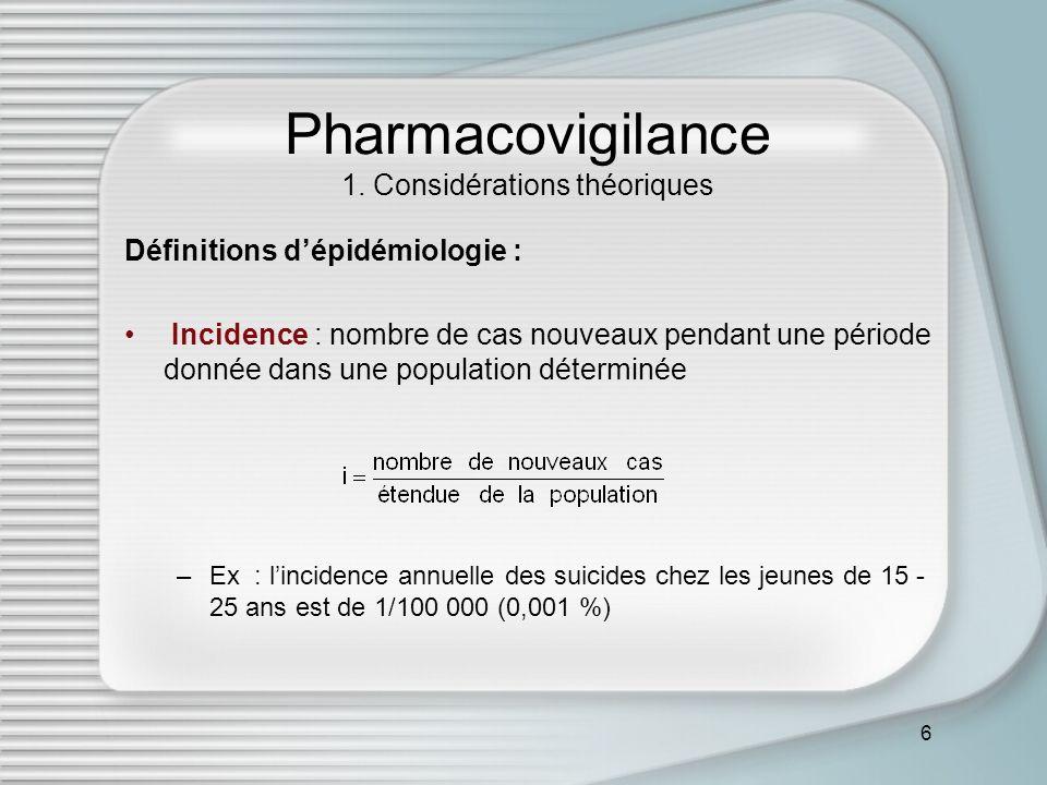 6 Pharmacovigilance 1. Considérations théoriques Définitions dépidémiologie : Incidence : nombre de cas nouveaux pendant une période donnée dans une p