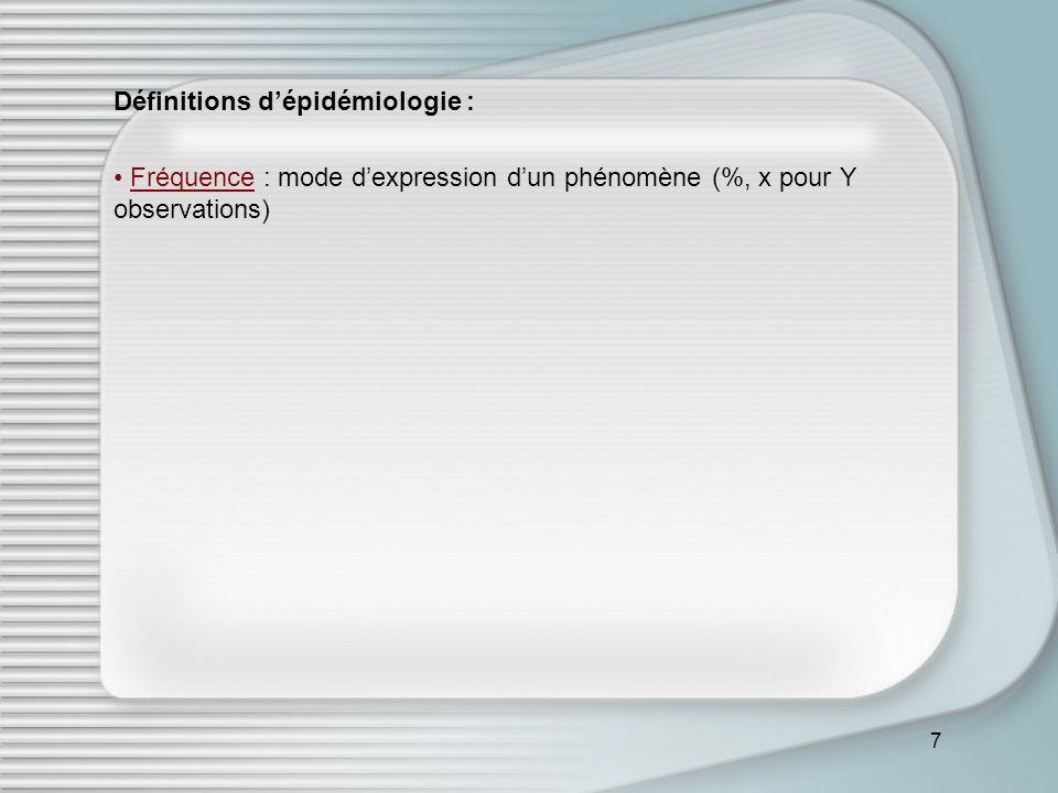 7 Définitions dépidémiologie : Fréquence : mode dexpression dun phénomène (%, x pour Y observations)