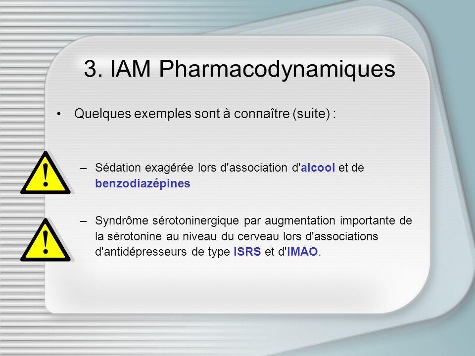 3. IAM Pharmacodynamiques Quelques exemples sont à connaître (suite) : –Sédation exagérée lors d'association d'alcool et de benzodiazépines –Syndrôme