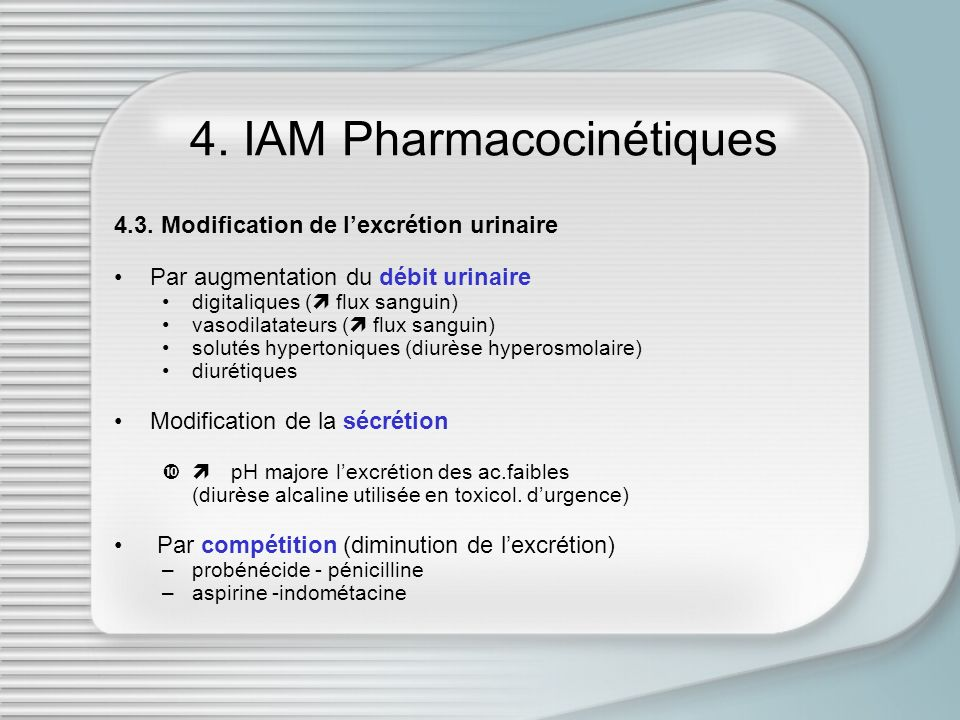 4. IAM Pharmacocinétiques 4.3. Modification de lexcrétion urinaire Par augmentation du débit urinaire digitaliques ( flux sanguin) vasodilatateurs ( f